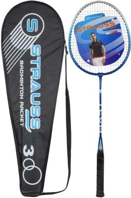 Strauss V-Tech 1012 Badminton Racquet with Full Cover (Black/Blue) G4 Strung Badminton Racquet