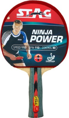 Stag Ninja Power With Deluxe Case Flat Grip Unstrung Table Tennis Racquet