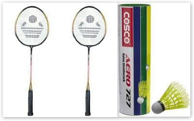 Cosco CBX-320 and Aero 727 Nylon Shuttle Cock G5 Strung Badminton Racquet