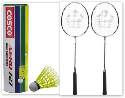 Cosco CBX-222 and 6 Aero 727 nylon shuttle cock G5 Strung Badminton Racquet