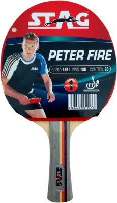 Stag Peter Fire With Deluxe Case Flat Grip Unstrung Table Tennis Racquet(Red, Black, Weight - 80 g)