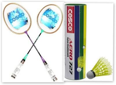 Cosco cb-110 and aero 727 nylon shuttle cock G5 Strung Badminton Racquet