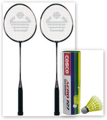 Cosco CBX-410 and Aero 727 Nylon Shuttle Cock G5 Strung Badminton Racquet