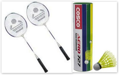 Cosco Cb-110 and Aero 727 Shuttle Cock G5 Strung Badminton Racquet