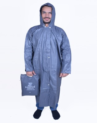 Rainfun Rf Grace Grey 51 Solid Men's Raincoat