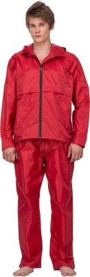 Asvina Red color with pant Solid Men,s Raincoat