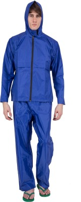 Asvina Blue Color With Pant Solid Men,s Raincoat