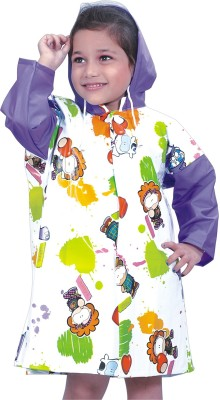 HighLands Angel_white Animal Print Girl's Raincoat
