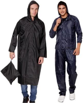 Monsuun Pack Of Black Raincoat & Navy Rainsuit Solid Men's Raincoat