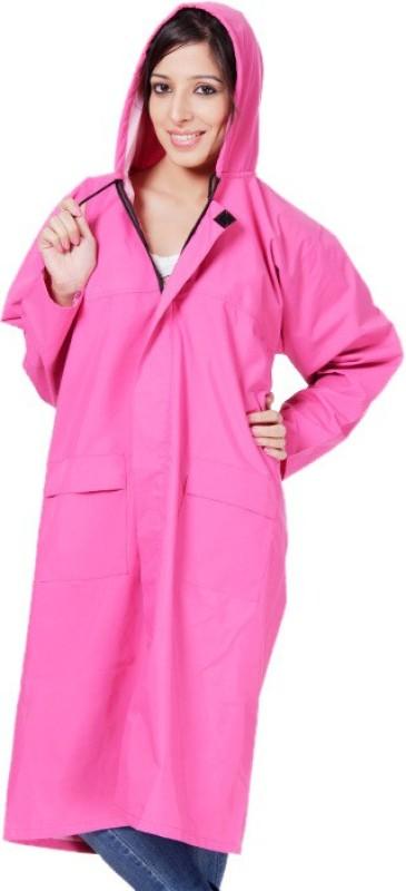 Bs Spy 2 Piece Women'S Long Coat With Cap Solid Women's Raincoat