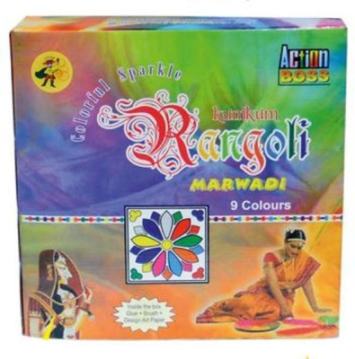 Action Boss Pack of 9 Rangoli Powder(Multicolor)