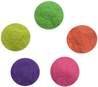 AsianHobbyCrafts Pack of 5 Rangoli Powder(Green, Pink, Purple, Yellow, Orange)