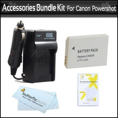 ButterflyPhoto Battery And Charger Kit For Canon Powershot Rechargeable Li-ion Battery