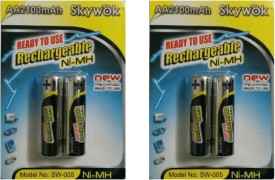 Skywok 1.2V,2100AA, 2 pk of 4 pieces, SW005 Rechargeable Ni-MH Battery