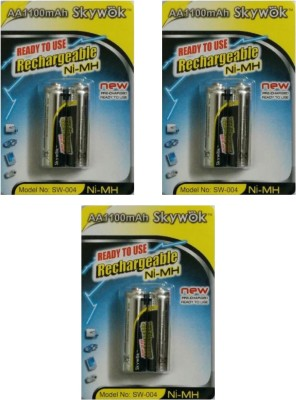 Skywok 1.2V,1100AA, 3pks of 6 pieces,SW004 Rechargeable Ni-MH Battery