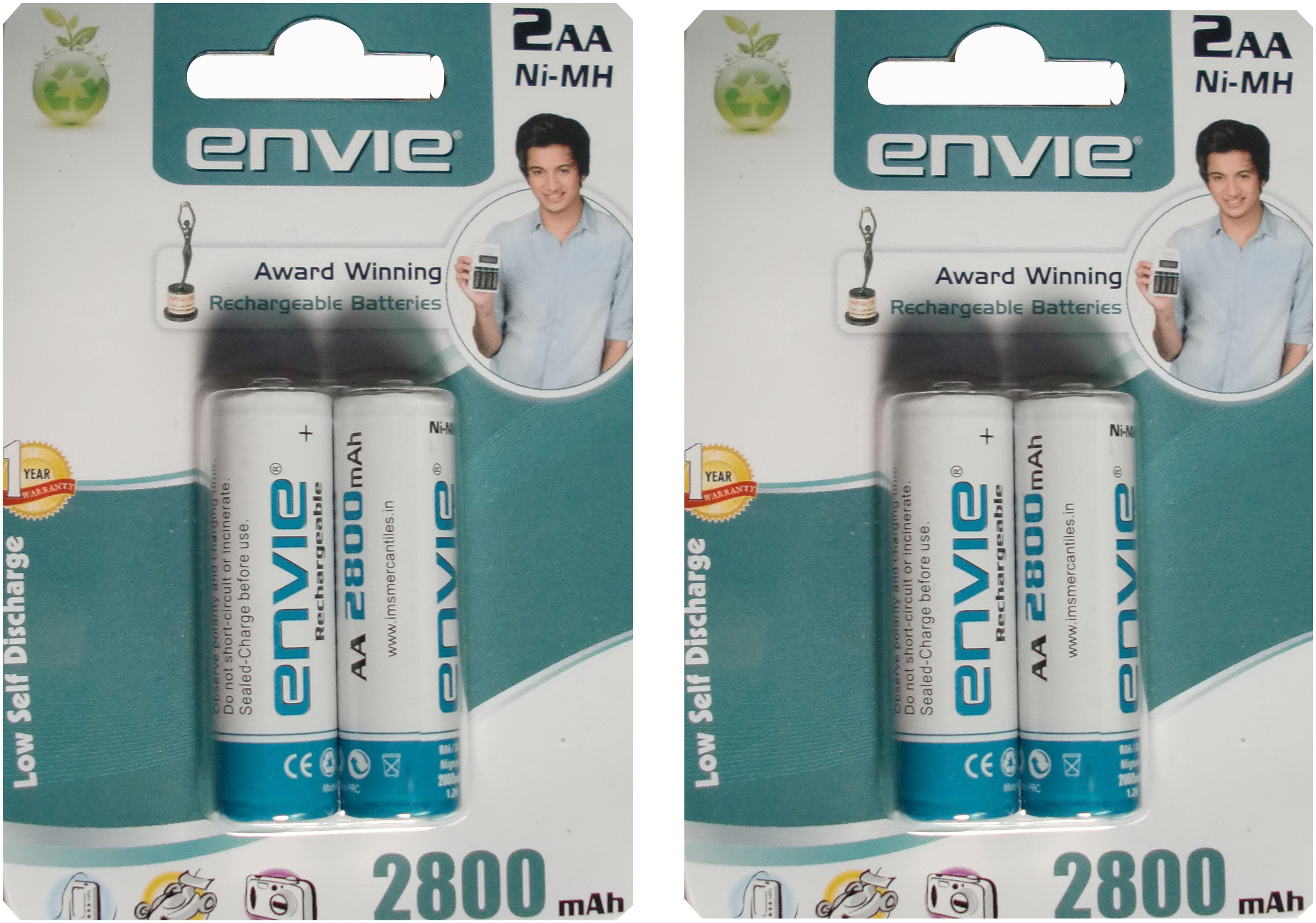 Envie AA 2800 mA 1.2 V 4 Pcs. Rechargeable Ni-MH Battery