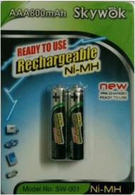 Skywok 1.2V, 800AAA, 1 pk of 2 pieces,SW001 Rechargeable Ni-MH Battery
