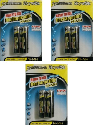 Skywok 1.2V,2800AA,3 pks of 6 pieces, SW007 Rechargeable Ni-MH Battery