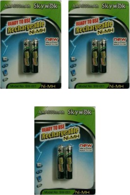 Skywok 1.2V, 800AAA, 3 pks of 6 pieces,SW001 Rechargeable Ni-MH Battery