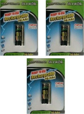 Skywok 1.2V, 1100AAA, 3 pks of 6 pieces,SW002 Rechargeable Ni-MH Battery