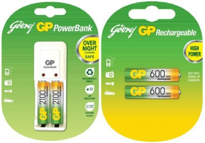 Godrej GP 1 Pack S 330 Charger With 2100 Mah & Aaa 600 Rechargeable Ni-MH Battery