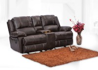Durian Leather Manual Recliners(Finish Color - Brown)