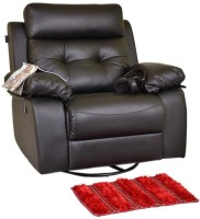 Recliners India Leatherette Manual Swivel Recliners(Finish Color - Black)