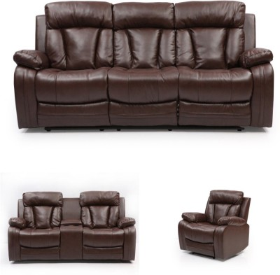 Evok Bonded Leather Manual Recliners(Finish Color - Dark Brown)