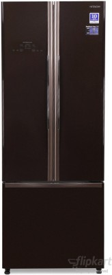 Hitachi 456 L Frost Free French Door Bottom Mount Refrigerator (R-WB480PND2, Glass Brown)