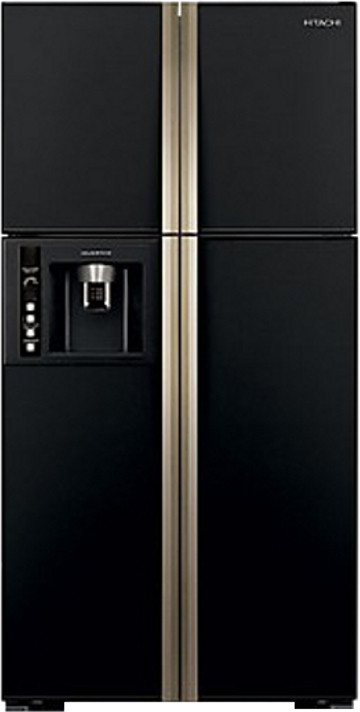 View Hitachi 638 L Frost Free Side by Side Refrigerator(R-W720FPND1X, Glass Black, 2016) Price Online(Hitachi)