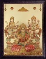 SAF Laxmi Ganesh Saraswati Acrylic Painting(22 inch x 18 inch)