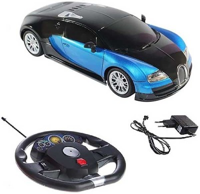 Zaprap Blue Remote Control Rechargable Buggati Steering Car For Kids