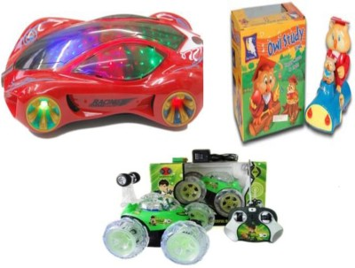 Dinoimpex Dino Battery Operated Car with Musical Owl on Wood and Car set Combo