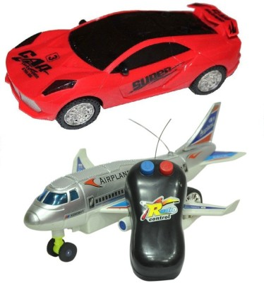 New Pinch Remote Aeroplane 2 Channel Radio Control (Running, Not Flying) with 3d LED Light , Music Car