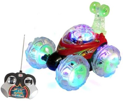 A R ENTERPRISES Multicolored Rechargeable Remote Control Stunt Car With Lighting Effects