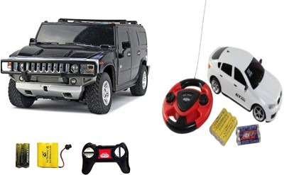 ECO SHOPEE REMOTE CONTROL 1:24 BLACK HUMMER CAR WITH JACKMEAN WHITE RECHARGABLE CAR WITH STEARING TOY FOR KIDS