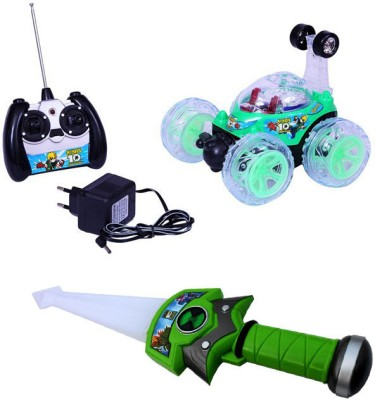 Smartkshop Rechargeable Remote Controlled Stunt Car & Ben10 Flash Knife Combo Pack(Multicolor)