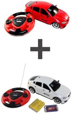 ECO SHOPEE JACKMEAN RED RECHARGABLE CAR WITH STEARING WITH JACKMEAN WHITE RECHARGABLE CAR WITH STEARING