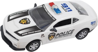 Brunte 1:18 White Police remote car with rechargeable battery