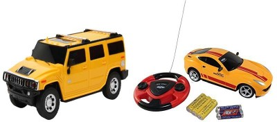 ECO SHOPEE REMOTE CONTROL 1:24 YELLOW HUMMER CAR WITH JACKMEAN RECHARGABLE CAR WITH STEARING (MULTICOLOR) TOY FOR KIDS