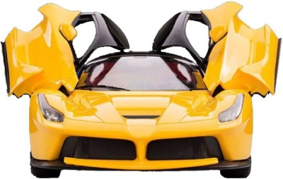 Sunflower Products Remote Controlled Rechargable Ferrari car with Opening Doors-Yellow