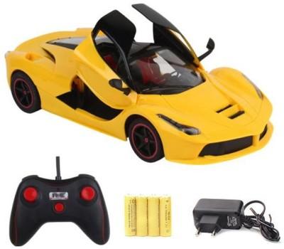 Zaprap Yellow Remote Control Rechargable Ferrari Car with Opening Doors