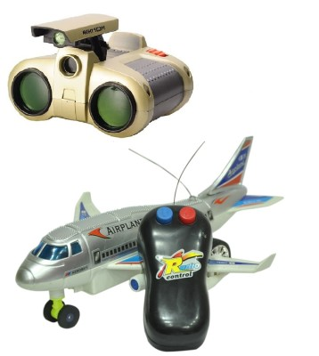 New Pinch Remote Aeroplane 2 Channel Radio Control (Running, Not Flying) with binocular toy