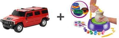 ECO SHOPEE REMOTE CONTROL 1:24 RED HUMMER CAR WITH POTTERY WHEEL FOR KIDS