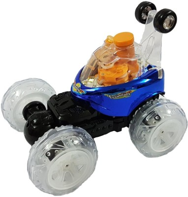 Shopo 360 Degree Rotating Blowing Bubble Maker Telescopic Stunt Car With Light and Music