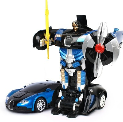The Flyer's Bay One Button Transforming Bugatti Car into Robot with Cool Dance Feature(Blue)