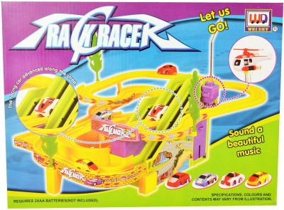 Just Toyz Track Racer with Advanced Racing Car along with Strap, Beautiful Music and Flying Helicopter