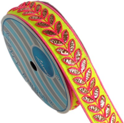 Lami TL4450-Lemon Yellow Embroidery Pink Rayon Ribbon