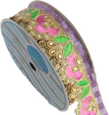 Lami MB5651_Pink,Laveder,Perot,Green,Embroidery Gold Rayon Ribbon
