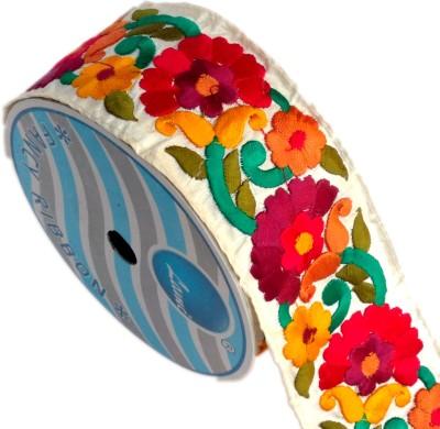 Lami TL4770_Mahroon,Orange,Yellow,Embroidery Beige Rayon Ribbon